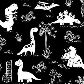 Library Dinos - White on Black