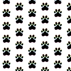 Pawprint Polka dots - 1 inch (2.54cm) - Black (#000000) with Rainbow Outline on White (#FFFFFF)