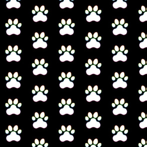 Pawprint Polka dots - 1 inch (2.54cm) - White (#FFFFFF) with Rainbow Outline on Black (#000000)