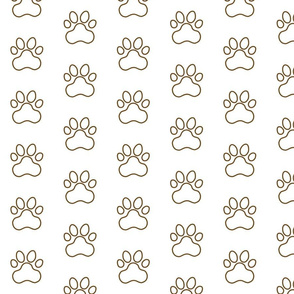 Pawprint Outline Polka dots - 1 inch (2.54cm) - Dark Brown (#6E4A1C) on White (#FFFFFF)