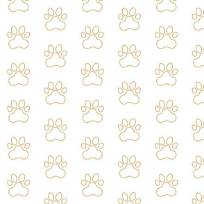 Pawprint Outline Polka dots - 1 inch (2.54cm) - Light Brown (#E0B67C) on White (#FFFFFF)