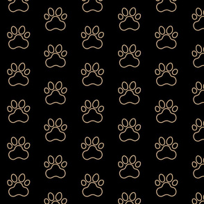 Pawprint Outline Polka dots - 1 inch (2.54cm) - Light Brown (#E0B67C) on Black (#000000)
