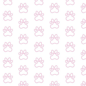 Pawprint Outline Polka dots - 1 inch (2.54cm) - Light Pink (#fba0c6) on White (#FFFFFF)