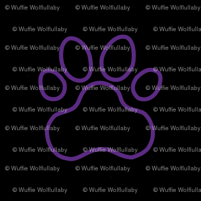 Pawprint Outline Polka dots - 1 inch (2.54cm) - Mid Purple (#a25bb1) on Black (#000000)