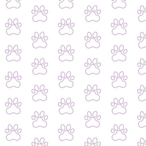 Pawprint Outline Polka dots - 1 inch (2.54cm) - Pale Purple (#cb9fd9) on White (#FFFFFF)