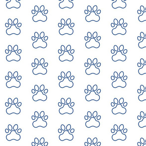 Pawprint Outline Polka dots - 1 inch (2.54cm) - Dark Blue (#003ba2) on White (#FFFFFF)