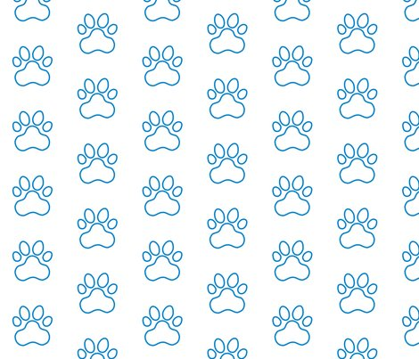 R20150927-225_-_fabric_design_-_pawprint_-_blue_0081c8_outline_on_white_shop_preview