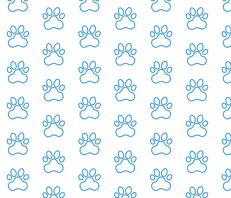 Pawprint Outline Polka dots - 1 inch (2.54cm) - Mid Blue (#0081c8) on White (#FFFFFF) fabric by elsielevelsup on Spoonflower - custom fabric