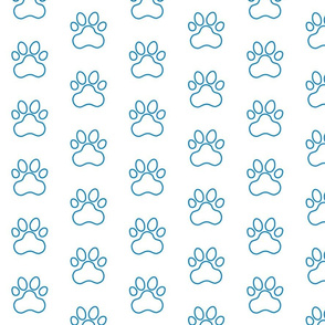 Pawprint Outline Polka dots - 1 inch (2.54cm) - Mid Blue (#0081c8) on White (#FFFFFF)