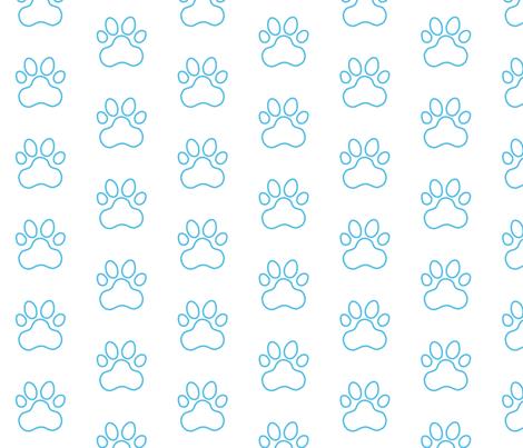 Pawprint Outline Polka dots - 1 inch (2 54cm) - Light Blue