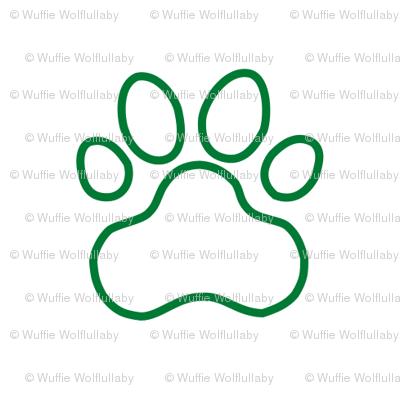 Pawprint Outline Polka dots - 1 inch (2 54cm) - Dark Green