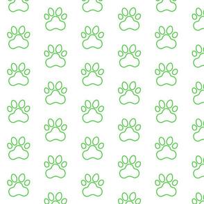 Pawprint Outline Polka dots - 1 inch (2.54cm) - Mid Green (#3ad42d) on White (#FFFFFF)