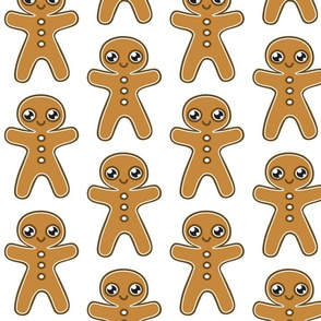 Gingerbread Men on White