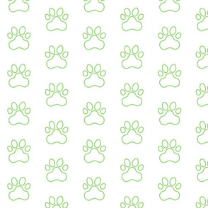 Pawprint Outline Polka dots - 1 inch (2.54cm) - Light Green (#89DA65) on White (#FFFFFF)