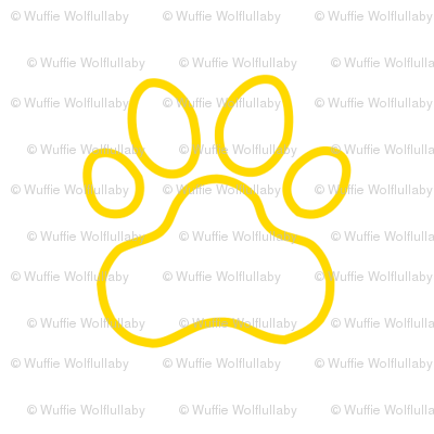Pawprint Outline Polka dots - 1 inch (2.54cm) - Yellow (#FFD900) on White (#FFFFFF)