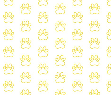 R20150927-204_-_fabric_design_-_pawprint_-_yellow_ffd900_outline_on_white_shop_preview