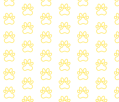 Pawprint Outline Polka dots - 1 inch (2.54cm) - Yellow (#FFD900) on White (#FFFFFF) fabric by elsielevelsup on Spoonflower - custom fabric