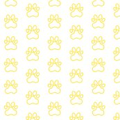 R20150927-204_-_fabric_design_-_pawprint_-_yellow_ffd900_outline_on_white_shop_thumb