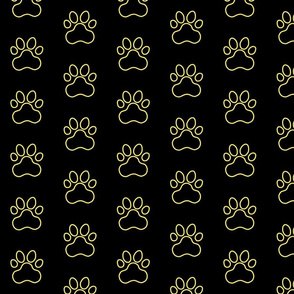 Pawprint Outline Polka dots - 1 inch (2.54cm) - Pale Yellow (#F9EA62) on Black (#000000)