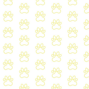 Pawprint Outline Polka dots - 1 inch (2.54cm) - Pale Yellow (#F9EA62) on White (#FFFFFF)