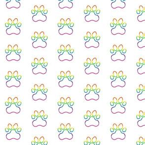Pawprint Polka dots - 1 inch (2.54cm) - Rainbow Outline on White (#FFFFFF)