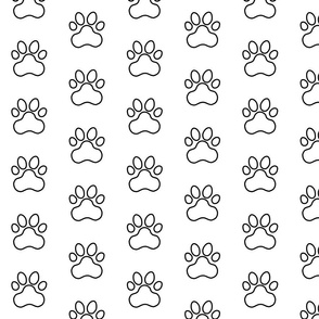 Pawprint Outline Polka dots - 1 inch (2.54cm) - Black (#000000) on White (#FFFFFF)
