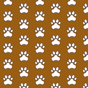 Pawprint Polka dots - 1 inch (2.54cm) - White (#FFFFFF) on Mid Brown (#995E13)