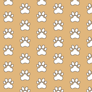Pawprint Polka dots - 1 inch (2.54cm) - White (#FFFFFF) on Light Brown (#E0B67C)