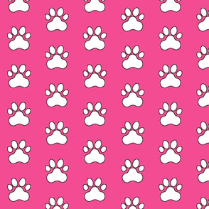 Pawprint Outline Polka dots - 1 inch (2.54cm) - White (#FFFFFF) on Pink (#f34c92)