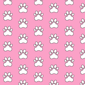 Pawprint Polka dots - 1 inch (2.54cm) - White (FFFFF) on Pale Pink (#fba0c6)