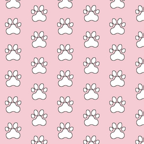 Pawprint Polka dots - 1 inch (2.54cm) - White (FFFFF) on Peachy Pink (#f5ccd3)