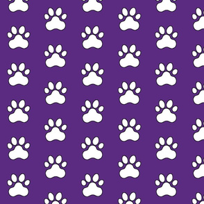Pawprint Polka dots - 1 inch (2.54cm) - White (FFFFF) on Dark Purple (#5e259b)