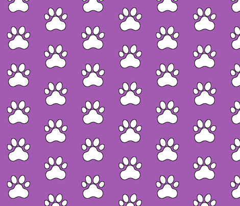 Pawprint Polka dots - 1 inch (2.54cm) - White (FFFFF) on Light Purple (#a25bb1) fabric by elsielevelsup on Spoonflower - custom fabric
