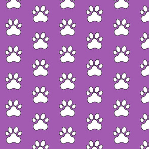 Pawprint Polka dots - 1 inch (2.54cm) - White (FFFFF) on Light Purple (#a25bb1)