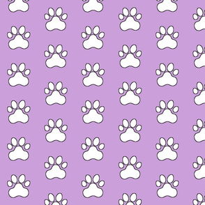 Pawprint Polka dots - 1 inch (2.54cm) - White (FFFFF) on Pale Purple (#cb9fd9)