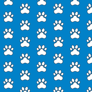 Pawprint Polka dots - 1 inch (2.54cm) - White (#FFFFFF) on Light Blue (#0081C8)