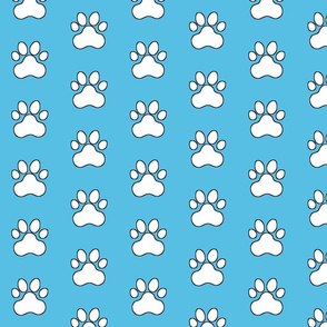 Pawprint Polka dots - 1 inch (2.54cm) - White (FFFFF) on Light Blue (#57bee4)