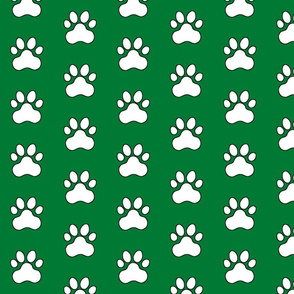 Pawprint Polka dots - 1 inch (2.54cm) - White (FFFFF) on Dark Green (#007934)