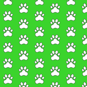 Pawprint Polka dots - 1 inch (2.54cm) - White (FFFFF) on Light Green (#3ad42d)