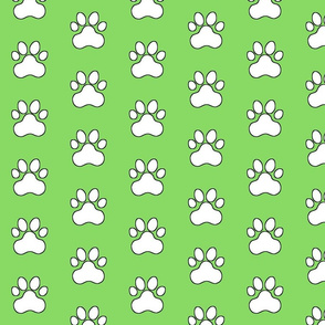 Pawprint Polka dots - 1 inch (2.54cm) - White (#FFFFFF) on Light Green (#89DA65)