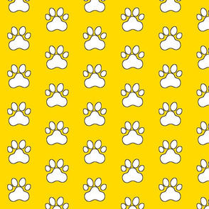 Pawprint Polka dots - 1 inch (2.54cm) - White (#FFFFFF) on Yellow (#FFD900)