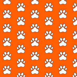 Pawprint Polka dots - 1 inch (2.54cm) - White (#FFFFFF) on Mid Orange (#FF5F00)