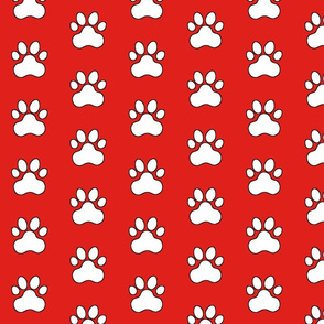 Pawprint Polka dots - 1 inch (2.54cm) - White (#FFFFFF) on Red (#E0201B)