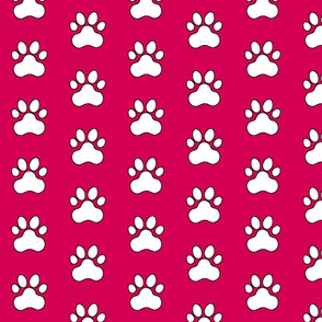 Pawprint Polka dots - 1 inch (2.54cm) - White (#FFFFFF) on Dark Pink (#D30053)