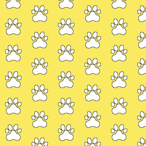 Pawprint Polka dots - 1 inch (2.54cm) - White (#FFFFFF) on Pale Yellow (#F9EA62)