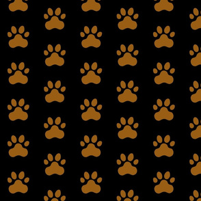 Pawprint Polka dots - 1 inch (2.54cm) - Mid Brown (#995E13) on Black (#000000)