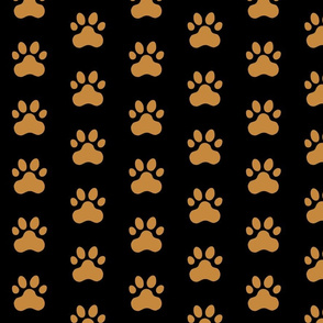 Pawprint Polka dots - 1 inch (2.54cm) - Black (#000000) on Brown (#C6883D)