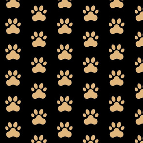 Pawprint Polka dots - 1 inch (2.54cm) - Light Brown (#E0B67C) on Black (#000000)