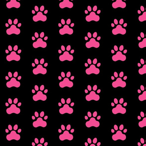 Pawprint Polka dots - 1 inch (2.54cm) - Mid Pink (#F34C92) on Black (#000000)