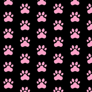 Pawprint Polka dots - 1 inch (2.54cm) - Light Pink (#FBA0C6) on Black (#000000)